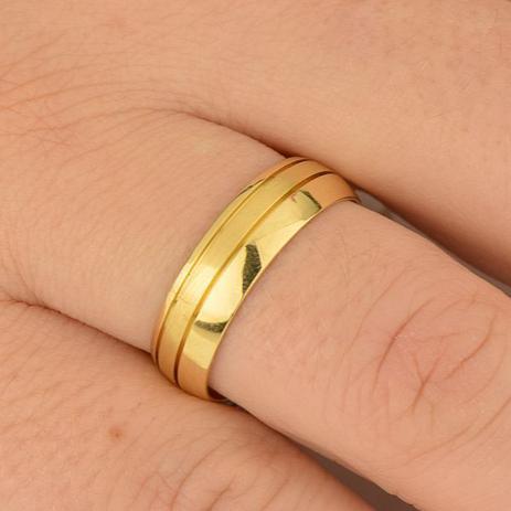 Aliança Casamento em Ouro 18k Bodas de Prata Feminina abp21 - Joiasgold 493bf466ae