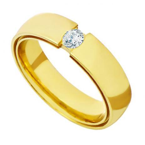 27ee799b05839 Aliança de Casamento em Ouro 18k Anatômica Dupla com Diamante Feminina -  Joiasgold
