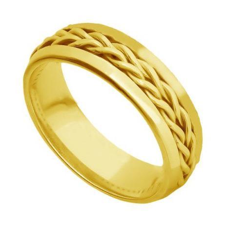 66157f818fc Aliança de Casamento em Ouro 18K Fio Trançado Masculina ar068 - Joiasgold