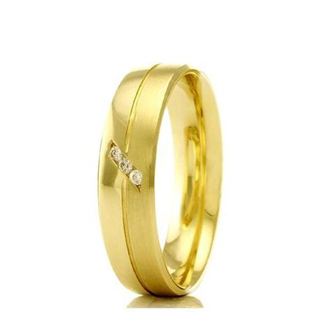 Imagem de Aliança de casamento feminina em Ouro 18k 750 WM Joias 5MM Com Zircônia F2332