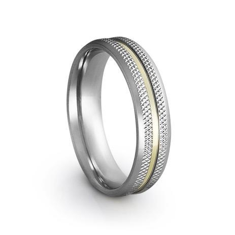 322e441ed6d Aliança de Namoro em Aço e Ouro Steel Fênix Gold - Prata fina - Joia ...