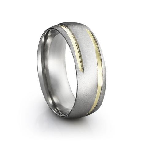 7f42301232d Aliança de Namoro em Aço e Ouro Steel Firenze Gold - Prata fina ...