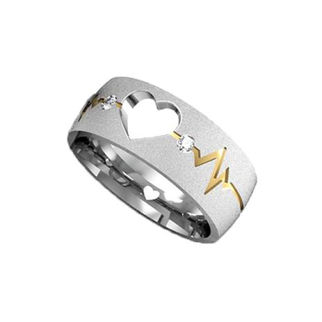 Imagem de Aliança De Prata 950 coração vazado Diamantada