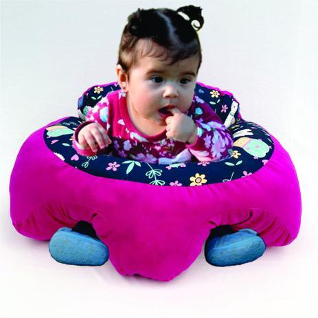 Imagem de Almofada Apoio Segura Bebê Sentar Puff Berço Portatil Rosa Lhamas