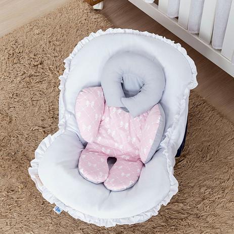 Imagem de Almofada de Bebê Conforto Ursinha Mel Rosa Lacinho