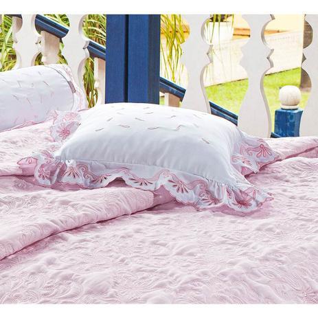 3c6b880019 Almofada de Cama Rosa e Branco em Fio Egipicio Percal 400 fios - C Doró -  Ruth sanches