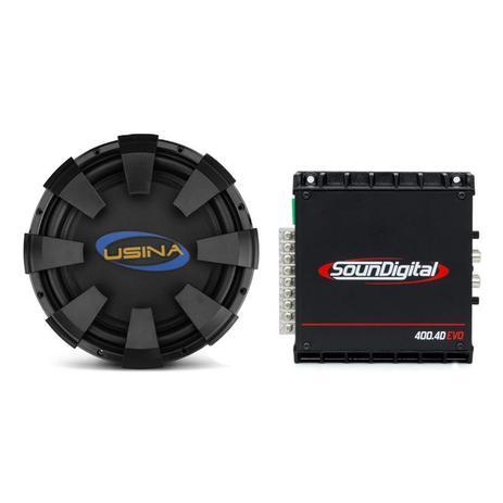 Imagem de Alto Falante Subwoofer Spyder Usina 12 350W + Módulo Amplificador Digital SounDigital SD400.4D EVO 2 Black 4 Canais