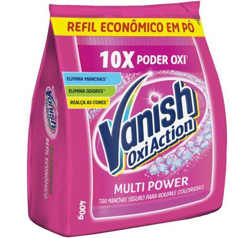 Imagem de Alvejante Sem Cloro em Pó 400g Vanish Oxi Action Tira Manchas Refil Econômico. Para roupas coloridas.