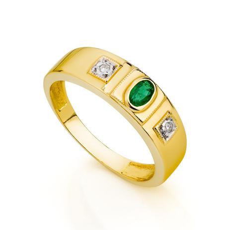 1dc53512a31ce Anel de Formatura em Ouro 18k Esmeralda com Diamantes an30168 - Joiasgold