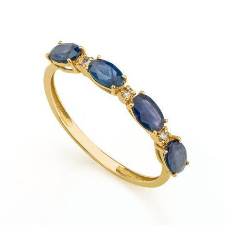 659c40a91d3c7 Anel de Ouro 18k Meia Aliança com Safira e Diamante an32267 - Joiasgold