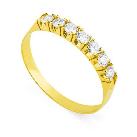 f9053463ff371 Anel de Ouro 18k Meia Aliança com Zircônias de 2