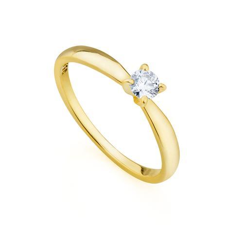 5679ef2e79697 Anel de Ouro 18k Solitário com Diamante de 20 pontos Cor   I Pureza   -  Joiasgold