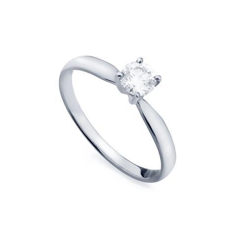 0336675946306 Anel de Ouro Branco 18k Solitário com Diamante de 30 pontos an34037 -  Joiasgold