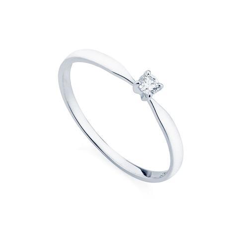 f20718ec1cb9d Anel de Ouro Branco 18k Solitário com Diamante de 7 pontos an34024 -  Joiasgold
