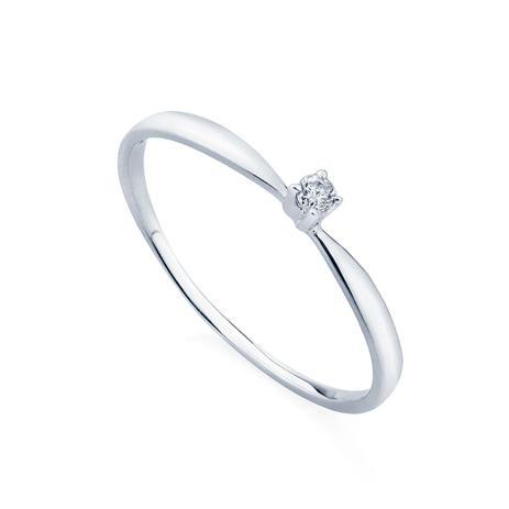 526cd46164952 Anel em Ouro Branco 18k Solitário com Diamante de 3 pontos an34022 -  Joiasgold