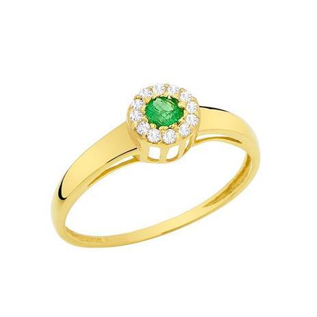 Anel Esférico Ouro 18K com 1 Esmeralda 10 Diamantes de 0,6 Pontos . 7c79247352