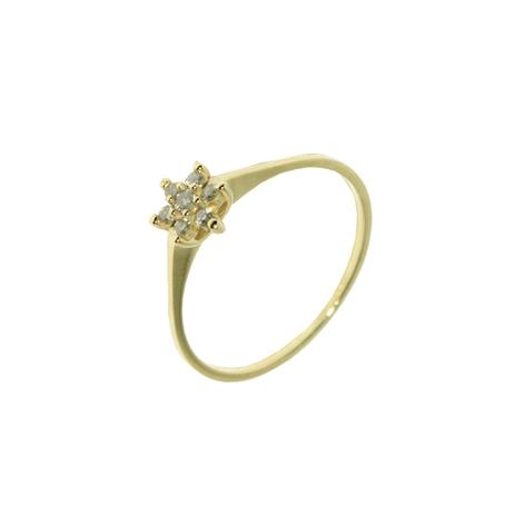 161a0880bd24f Anel Flor em Ouro 18k com 6 Diamantes 1