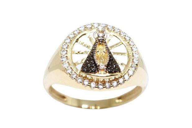 433eb9e7cfee8 Anel nossa senhora aparecida ouro 18k zircônias - Retran joias ...