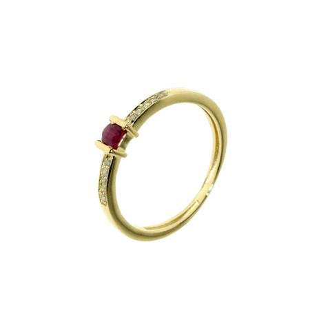 d3b64a8b4e15d Anel Roma Ouro 18k com 1 Rubi de 10 Pontos e 10 Diamantes de 1 Ponto cada -  Napoleon Joias
