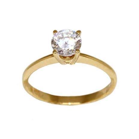 Anel Solitário Ouro 18k Com Pedra Zircônia - cod.13935 - Retran joias 9441b0ba37