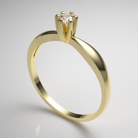 5bf6a622fbed8 Anel Solitário Ouro Amarelo 18K Pedra Zircônia - Pontochic - Joia e ...