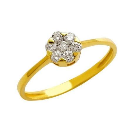 Anel Tulipa Ouro 18k com 1 Diamantes 5 Pontos e 6 Diamantes 3 Pontos . 5479f5192e