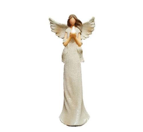 Imagem de Anjo Decorativo de Resina Segurando Pombo Grande 25cm