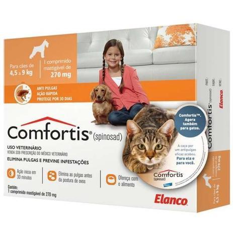 Imagem de Antipulgas comfortis 270mg para cães de 4,5 a 9kg e gatos de 2,8 a 5,4kg - elanco