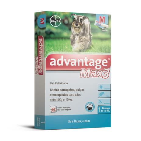 Antipulgas e Carrapatos Bayer Advantage MAX3 Para Cães de 4 Kg a 10 ... 80d30598cd8e2
