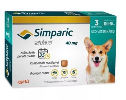 Imagem de Antipulgas Zoetis Simparic 40 Mg Para Cães 10,1 A 20 Kg - 3 Comprimidos