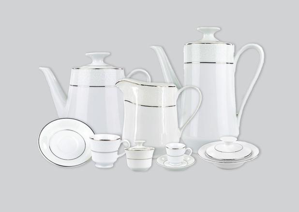 Imagem de Aparelho de Chá e Café Porcelana Schmidt 53 peças - Dec. Renda Branca