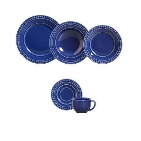 Aparelho De Jantar Atenas Azul Navy 30 Pcs Porto Brasil Aparelho