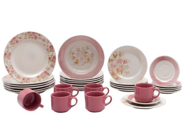 Aparelho De Jantar Chá 30 Peças Biona Cerâmica Redondo Rosa Donna