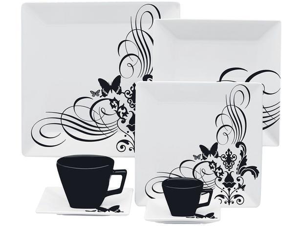 Aparelho De Jantar Chá Café 42 Peças Oxford Porcelana Quadrado