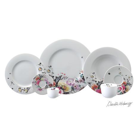 Imagem de Aparelho de Jantar e Chá Porcelana Schmidt 30 Peças - Dec. Aquarela