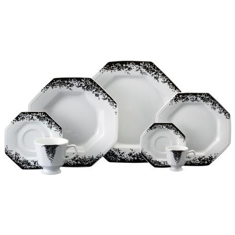 Imagem de Aparelho de Jantar e Chá Porcelana Schmidt 30 Peças - Dec. Pixel