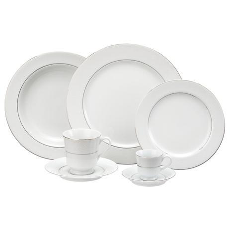 Imagem de Aparelho de Jantar e Chá Porcelana Schmidt 30 peças - Dec. Renda Branca
