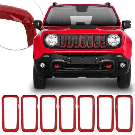 Imagem de Aplique da Grade Frontal Jeep Renegade 2019 2020 Encaixe Sob Medida Vermelho 7 Peças