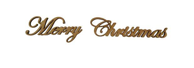 Imagem de Aplique Em MDF Palavra Merry Christmas 280a Crú Natal 20 cm