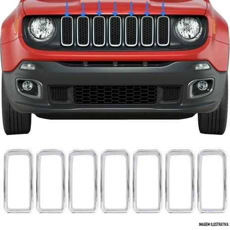 Imagem de Aplique Grade Frontal Dianteira Jeep Renegade 2019 2020 2021 7 Peças