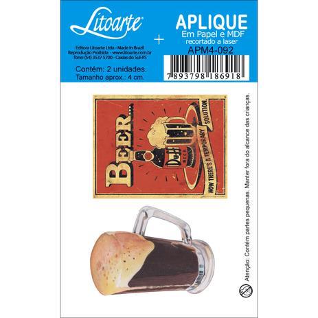 Imagem de Aplique MDF e Papel Litoarte 4 cm - Modelo APM4- 092 Caneco Cerveja e Duff