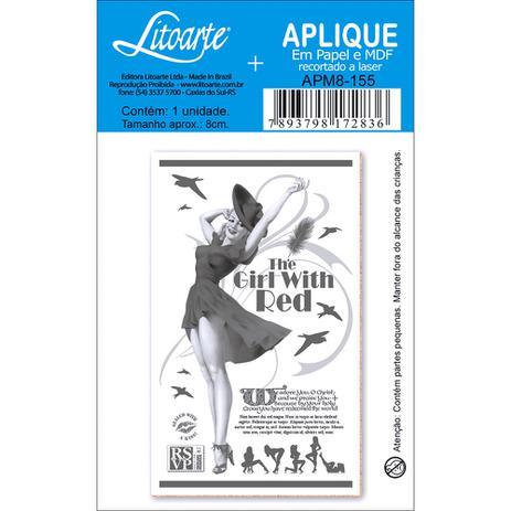 Imagem de Aplique MDF e Papel Litoarte 8 cm - Modelo APM8- 155 Poster Poster  Menina de Vermelho