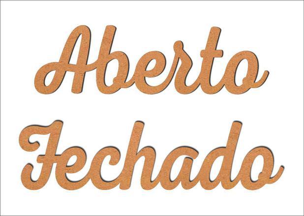 Imagem de Aplique Recorte Palavras Aberto e Fechado Mdf 3mm para Artesanato