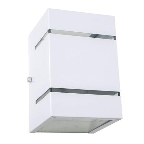 Imagem de Arandela  Branca + LED 5W 3000K Bivolt luminária Externa Parede Muro 2 Focos Frisos Fachos St327