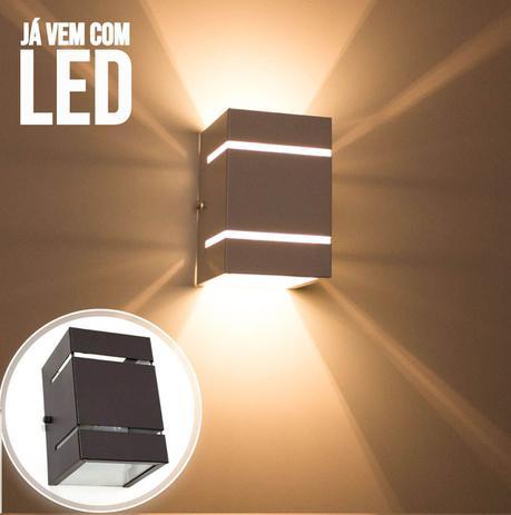 Imagem de Arandela  Marrom + LED 5W 3000k luminária Externa Parede Muro 2 Focos Frisos Fachos 110V St327