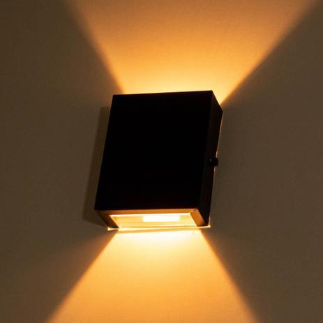 Imagem de Arandela Slim 2 Focos Preta Parede Muro Interna Externa St1597