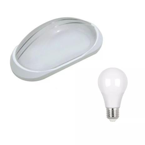 Imagem de Arandela Tartaruga Externa Plastica Branca Ac189 + Led 9W Branco Frio 6500K
