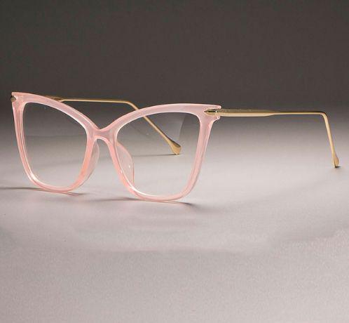 Imagem de Armação de Óculos Feminina com Haste Dourada de Metal - Estilo Gatinho