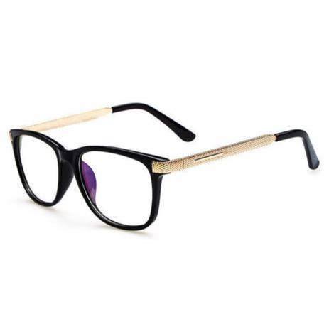 Imagem de Armação de Óculos para Grau Feminina Quadrada Preta Dourada
