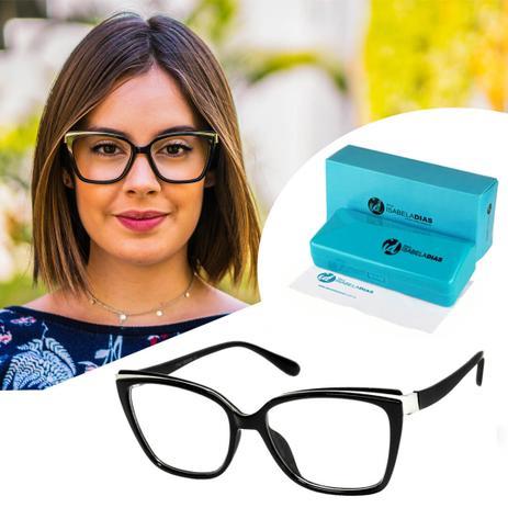 Imagem de Armação Óculos De Grau Feminino Retrô Quadrado Original Preto 5575